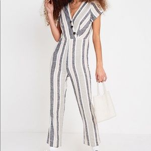 Urban Outfitters Striped Jumpsuit + Button Front